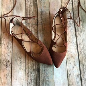 Express lace up point toe flats